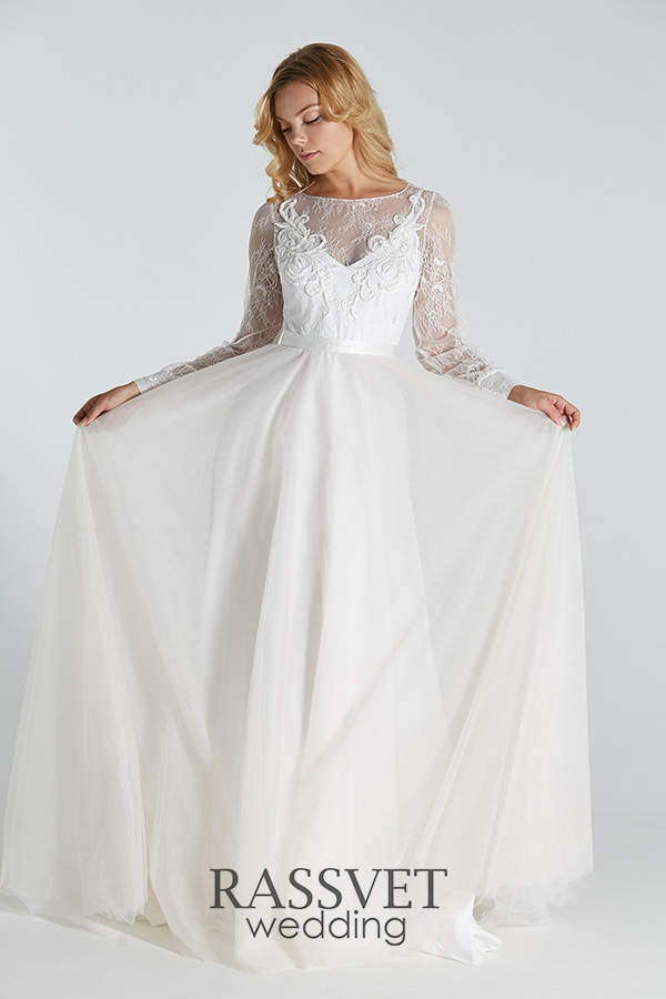 3f7d4778f51 ✓ Прямые свадебные платья с длинным рукавом купить он-лайн в ...